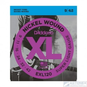 D'addario EXL120 - XL Nickel Wound- 9-42